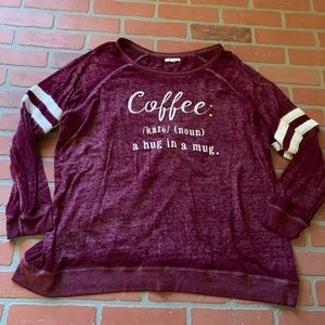 Maurice's Coffee Typography Tunic Burnout Top 3x